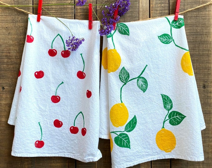 Lemons and Cherries Rustic Hand Printed Kitchen Towels