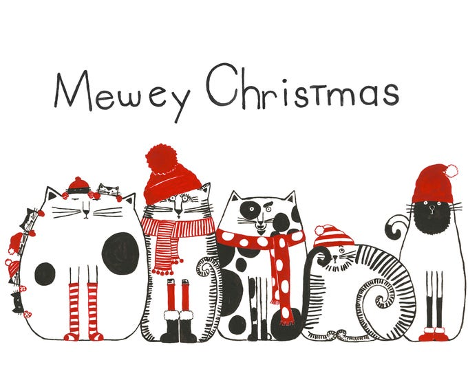 Mewey Christmas Print