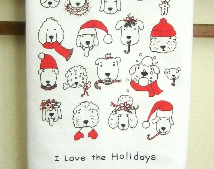 CHRISTMAS Dogs love the holidays Kitchen Towel