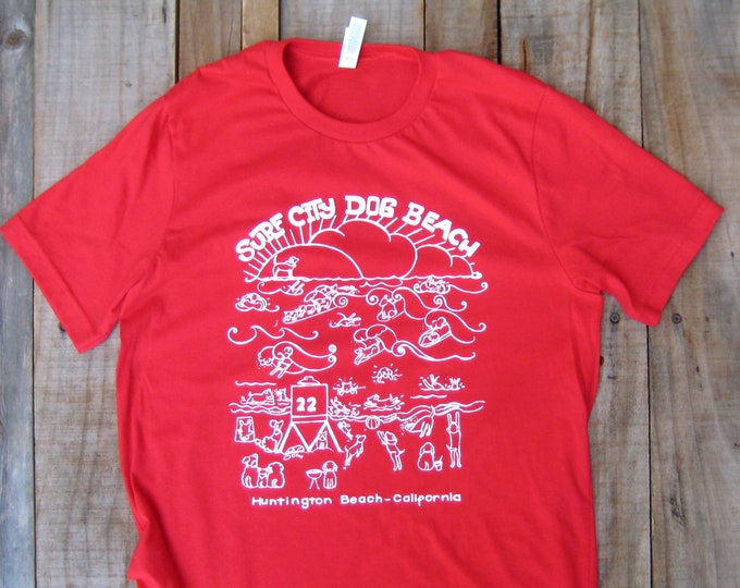 Dog Beach, Surf City, Unisex T Shirt,  Blue, Red or Gold