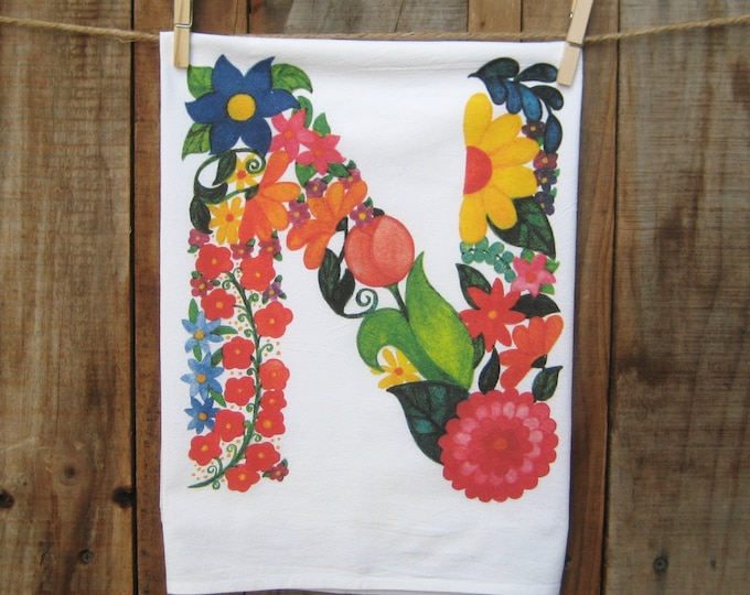 "Monogram Kitchen Towel Floral Letter ""N"""