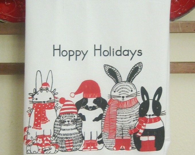 CHRISTMAS Hoppy Holidays Bunnies Kitchen Towel