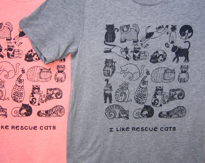 I Like Rescue Cats Unisex Tri Blend T Shirt Grey or Sunset