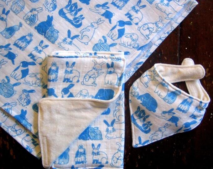 Baby Blue Bunnies Organic Three Piece Gift Set