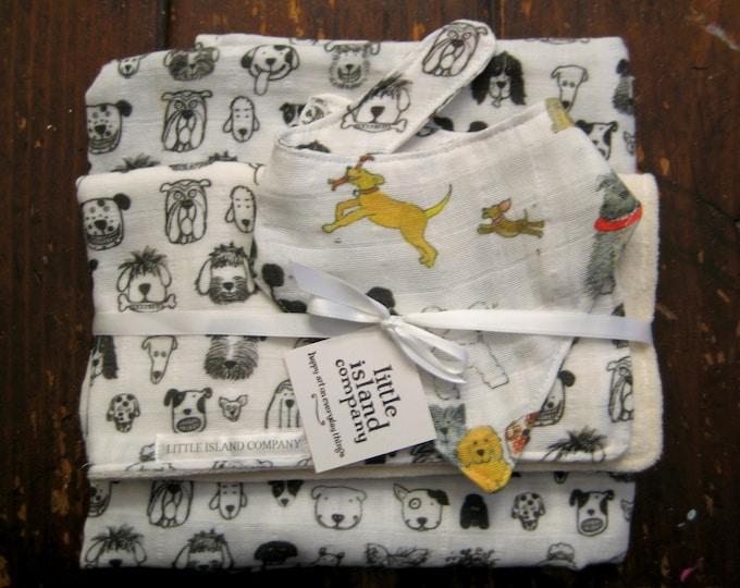 Baby Swaddle Gift Set Organic Dog Print