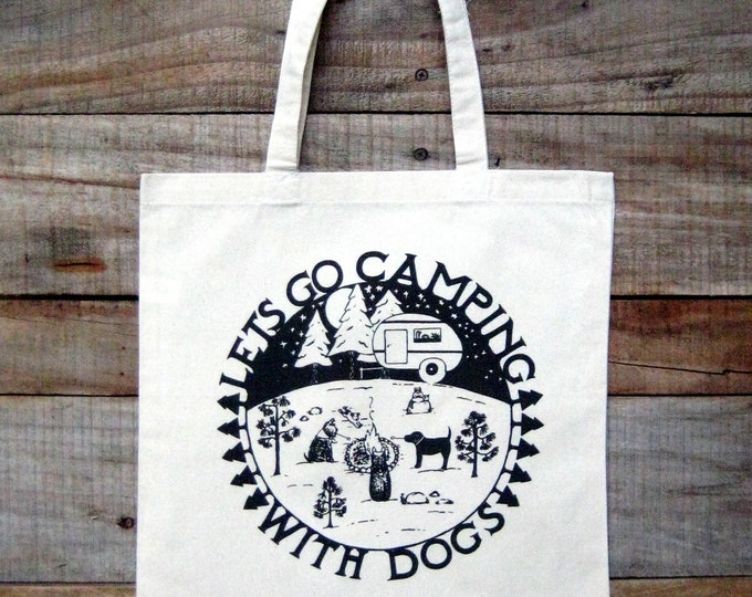 Camping with Dogs Tote Bag