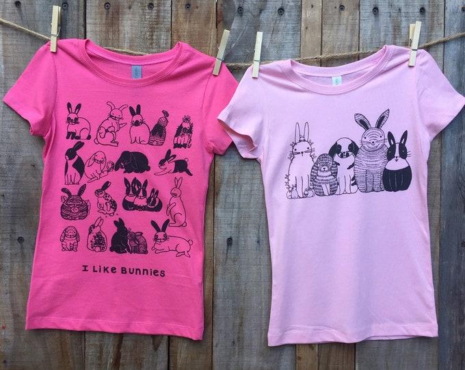 Bunnies Girls Pink T Shirt