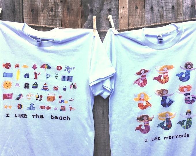 Beach and Mermaids Unisex T Shirts