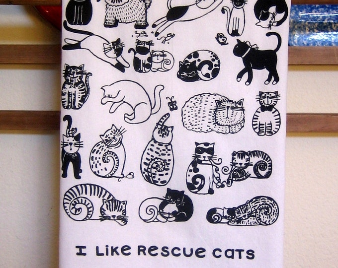 I Like Rescue Cats Kitchen Towel