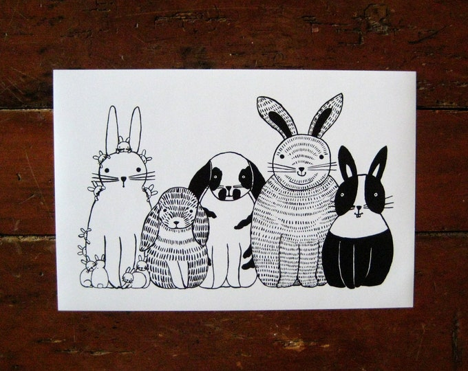 Five Bunnies in a Row Print