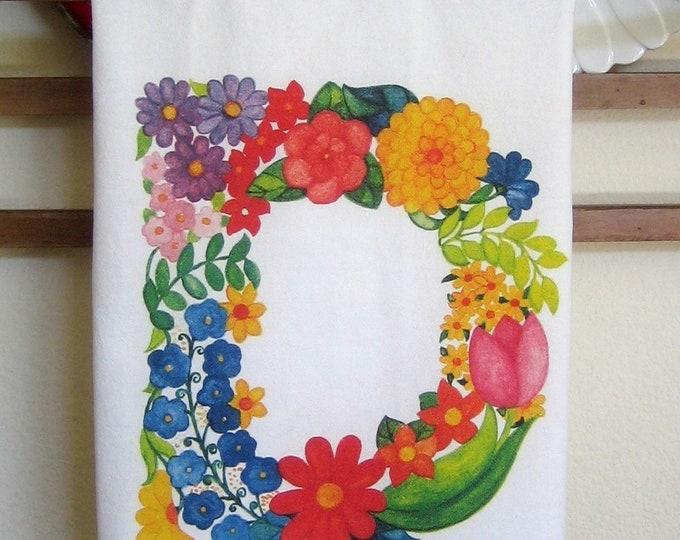 Monogram Kitchen Towel Letter D