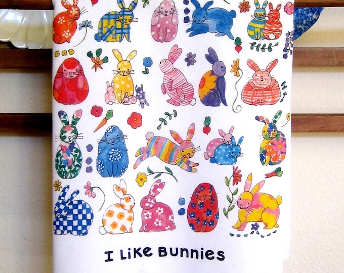Bunnies and Flowers Kitchen Towel