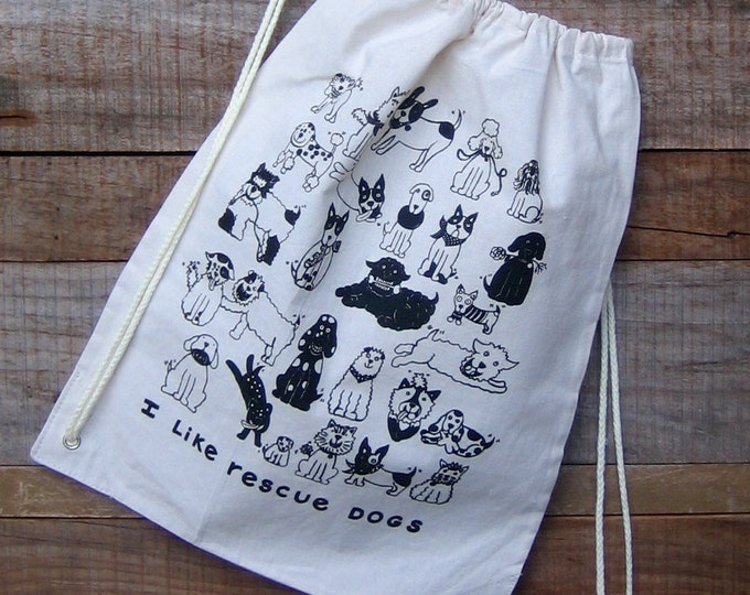 Rescue Dogs Canvas Draw String Back Pack