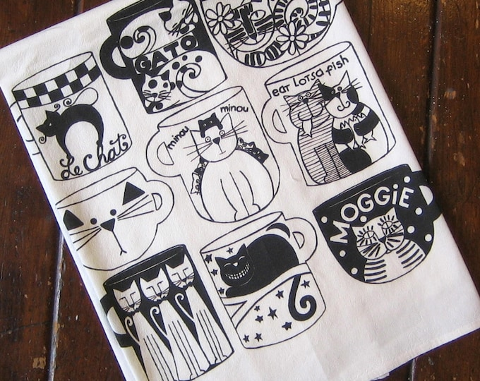 Cat Cups Kitchen Towel