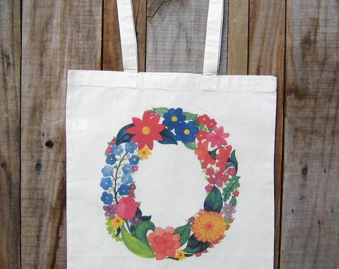 Letter O Monogram Flower Market Tote Bag
