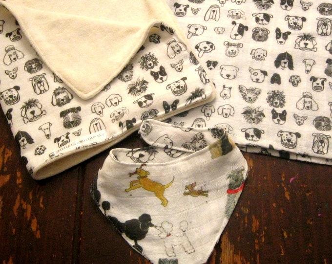 Black and White Dogs Organic Cotton Gauze Baby Gift Set