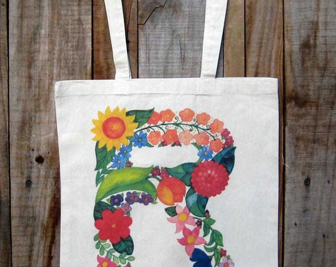 """Monogram Flower Letter """"R"""" Tote Bag"""