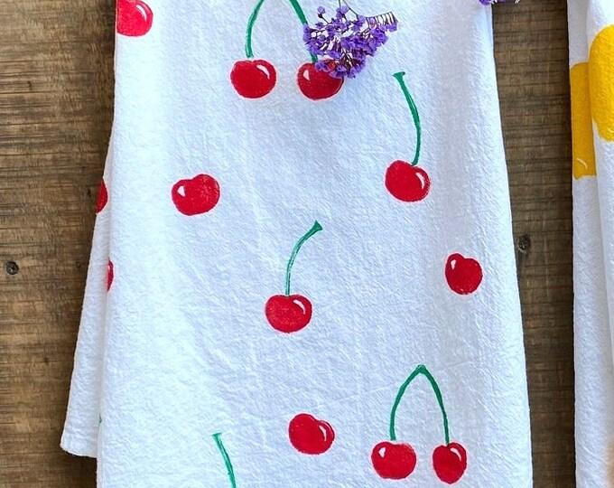 Cherries Hand Printed Kitchen Towel
