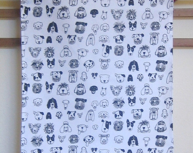 Black and White Dog Print Fabric Kitchen Towel