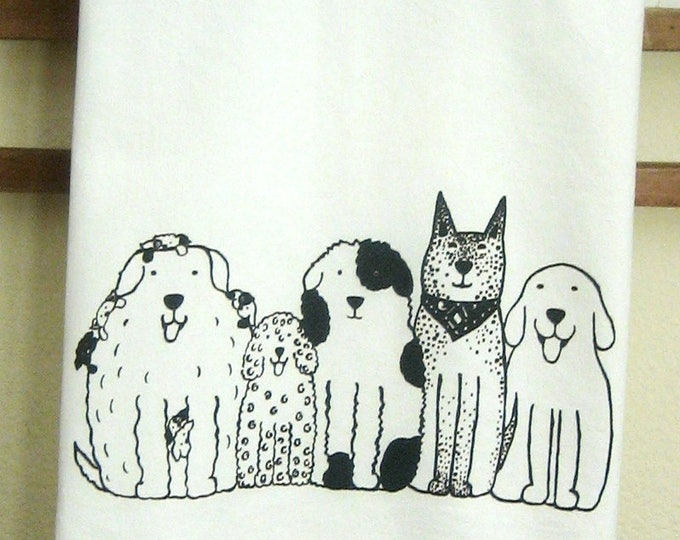 Dogs in a RowKitchen Towel, Happy Dogs, Dog Friends, Kitchen Towel