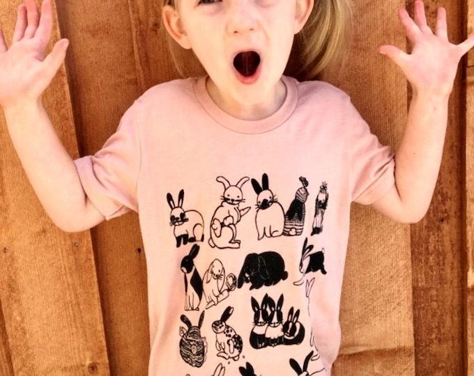 Bunnies Kids T Shirt Tri Blend Peach, Grey or Blue
