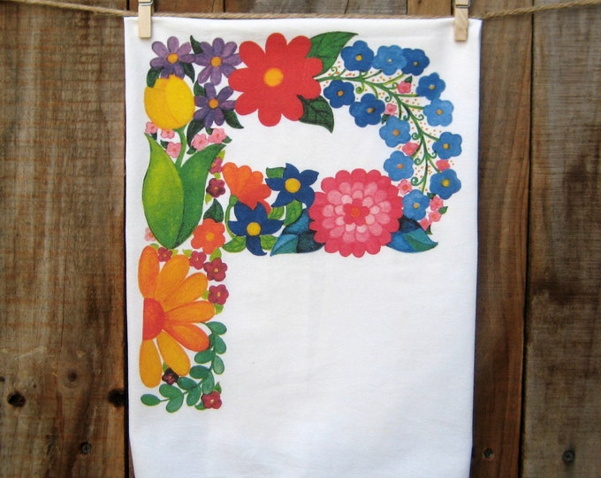 "Letter ""P"" Monogram Flower Kitchen Towel"