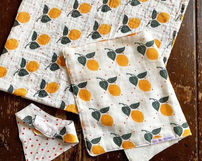 Baby Gift Set Organic Cotton Gauze Lemons