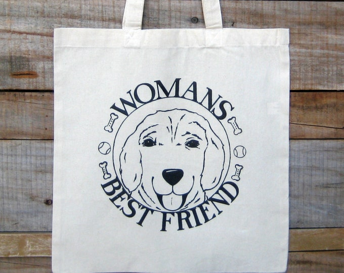 Womans Best Friend, Dog Lovers, Market Tote Bag
