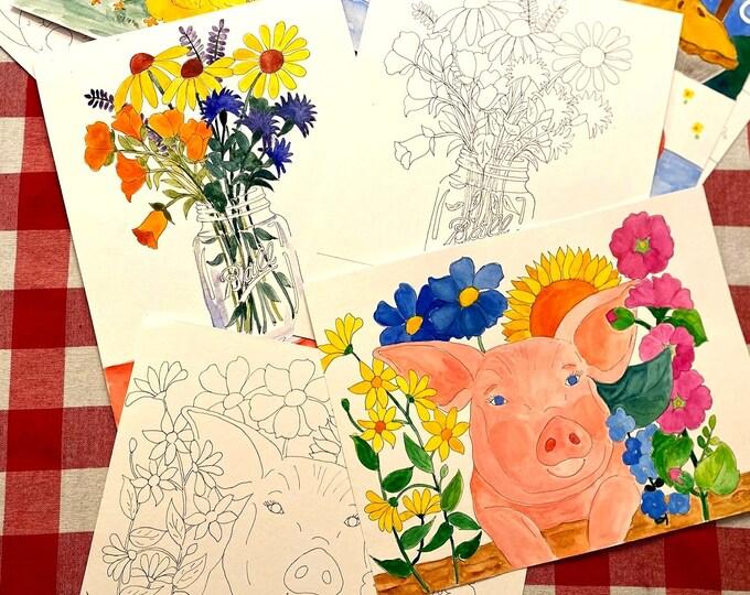 Farm House Watercolor Painting Kit