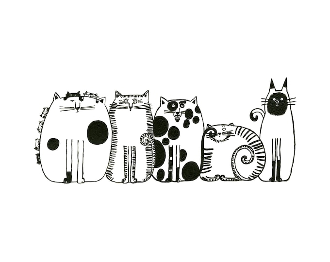 Five Cats in a Row 8x12 Print