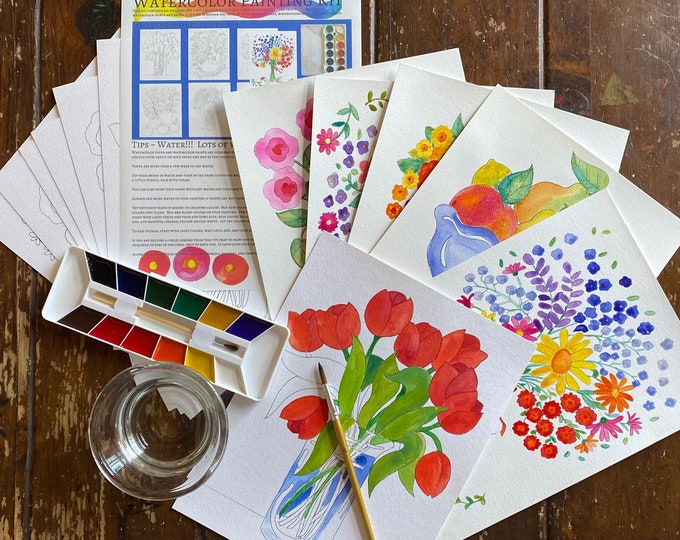 Watercolor Painting Kit, Flowers and Still Lifes