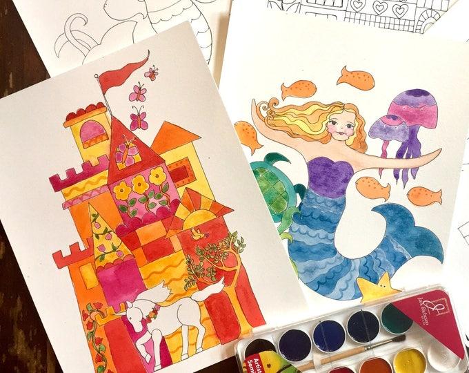 Watercolor Painting Kit, Mermaids, Unicorns and Castles