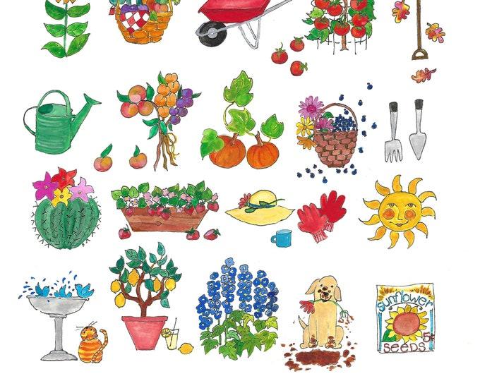 I Like the Garden Watercolor Print, 12x12