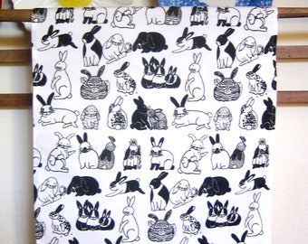 Serviette de cuisine/toile de lin imprimé lapin