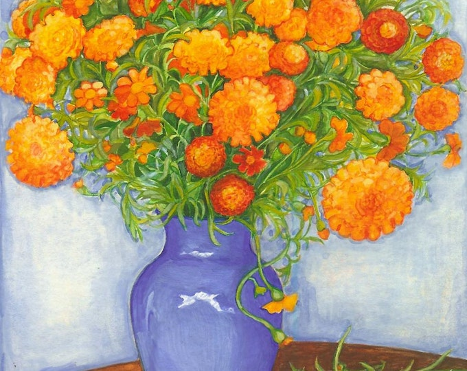 French Marigolds Watercolor 11x14 Print