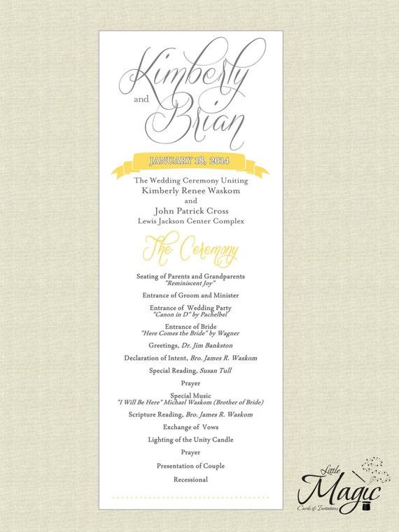 Printable Diy Wedding Reception Programs Etsy