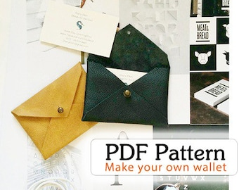 Diy kit diy wallet case wallet leather wallet card holder etsy menwomwn wallet wallet pdf pattern easy project no sewing pattern diy leather wallet business card wallet credit card case pdf purse reheart Gallery