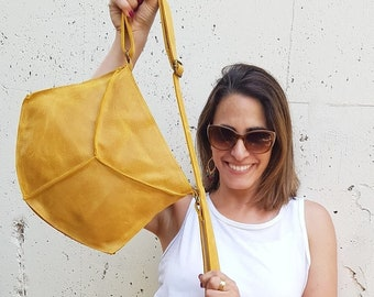 Summer Leather crossbody, travel side bag for women, yellow Messenger Bags for women, mustered crossbody leather, yellow Shoulder Bag