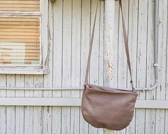 Soft leather purse, gray leather messenger bag for women, crossbody leather purse in gray,  small leather purse for her, women's Leather bag