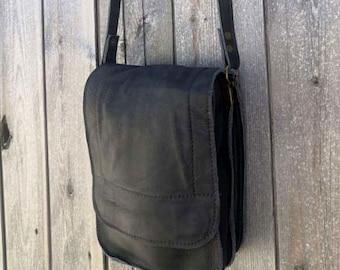 Black soft crossbody leather men bag, long strap crossbody bag camel, black leather bag for men, soft natural leather bag, Gift for men