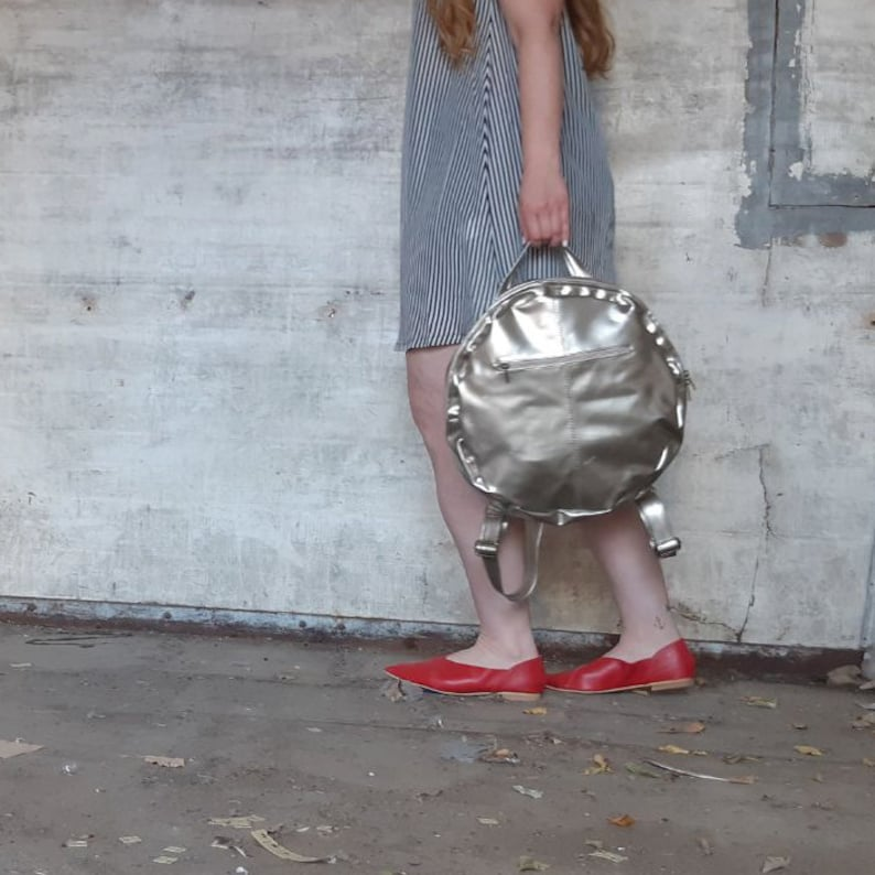 Red Canvas backpack zipper backpack urban backpack circle backpack round backpack women red rucksack non leather backpack work bag
