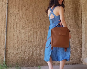 Brown leather backpack women bag for travel, for laptop, Women's soft Leather backpack purse handmade rucksack for Travel