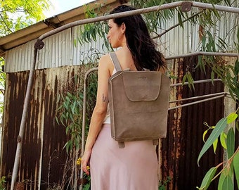 Soft gray leather backpack bag for work, every day bag for laptop, ON SALE Women's backpack purse handmade rucksack for Travel, women gift