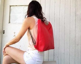 Red vegan fabric backpack, great travel backpack women, bag for student, non leather backpack, laptop vegan bag, bag for travel, work bag
