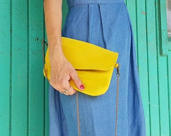 YELLOW leather clutch bag, ladies soft leather bag, Handmade leather wristlet clutch & metal strap, fashion small purse, women clutch yellow