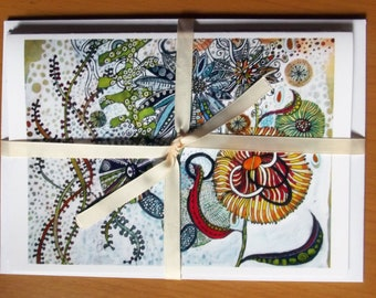 Greetings Cards From Fantasy Flowers Series of Watercolour Originals Pack of Four Cards Hippy Flowers and Psychedelic