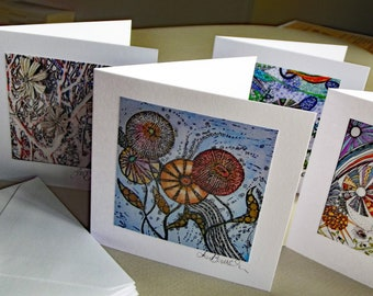 Greetings Card From Fantasy Flowers Originals,Pack of Four Small Cards