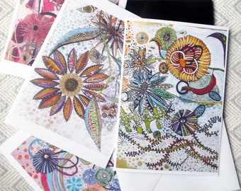Greetings Cards From Fantasy Flowers Series of Watercolour Originals Pack of Three Cards