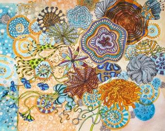 Greetings Card From Fantasy Flowers Series of Watercolour Originals