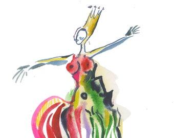 "Small Original Watercolor Figure Art Painting - Fun Contemporary Modern Office Decor - Gouache on Paper 6"" x 6"" - 431"